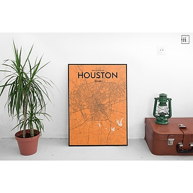 OurPoster.com 'Houston City Map' Graphic Art Print Poster in Orange; 20'' H x 16'' W