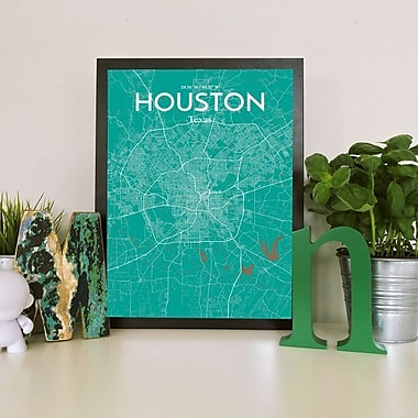 OurPoster.com 'Houston City Map' Graphic Art Print Poster in Nature; 27.56'' H x 19.69'' W