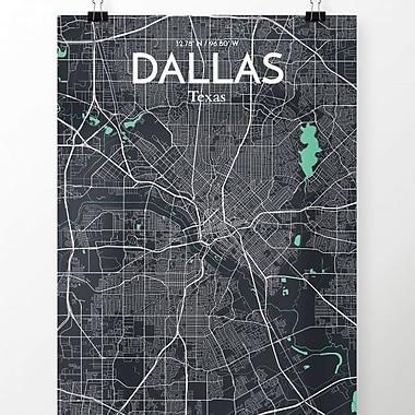 OurPoster.com 'Dallas City Map' Graphic Art Print Poster in Dream; 20'' H x 16'' W