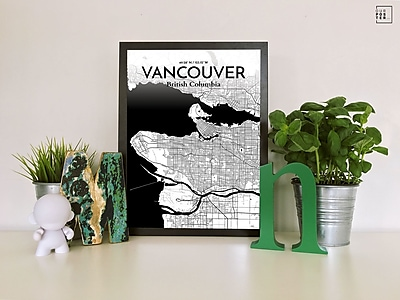 OurPoster.com 'Vancouver City Map' Graphic Art Print Poster in Ink; 27.56'' H x 19.69'' W