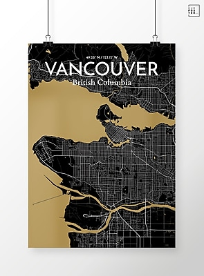 OurPoster.com 'Vancouver City Map' Graphic Art Print Poster in Luxe; 17'' H x 11'' W