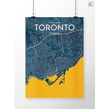 OurPoster.com 'Toronto City Map' Graphic Art Print Poster in Amuse; 36'' H x 24'' W