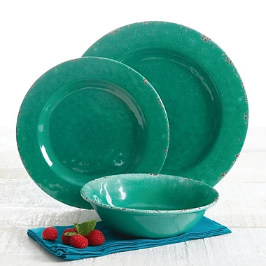 Bloomsbury Market Anderson Distressed Melamine 12 Piece Dinnerware Set, Service for 4; Green