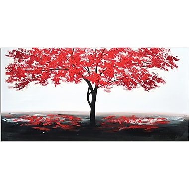 Latitude Run 'Red Leaves' Oil Painting Print on Wrapped Canvas