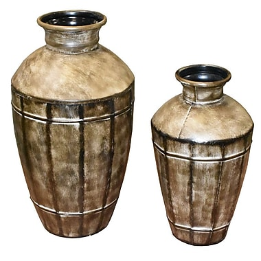 Entrada 2 Piece Metal Pot Planter Set
