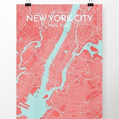 OurPoster.com 'New York City Map' Graphic Art Print Poster in Maritime; 20'' H x 16'' W
