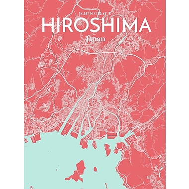 OurPoster.com 'Hiroshima City Map' Graphic Art Print Poster in Maritime; 20'' H x 16'' W