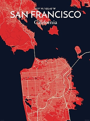 OurPoster.com 'San Francisco City Map' Graphic Art Print Poster in Nautical; 36'' H x 24'' W