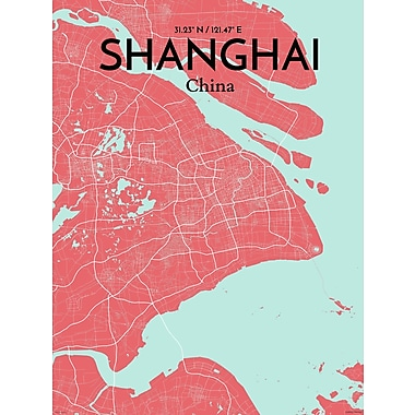 OurPoster.com 'Shanghai City Map' Graphic Art Print Poster in Maritime; 24'' H x 18'' W