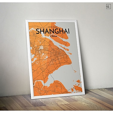 OurPoster.com 'Shanghai City Map' Graphic Art Print Poster in Gray/Orange; 36'' H x 24'' W