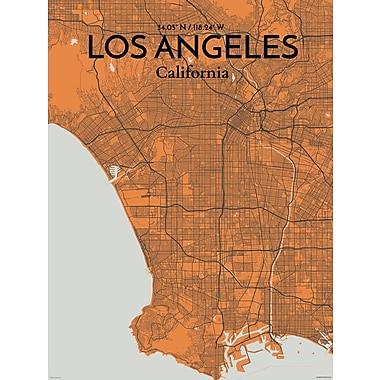OurPoster.com 'Los Angeles City Map' Graphic Art Print Poster in Orange; 24'' H x 18'' W