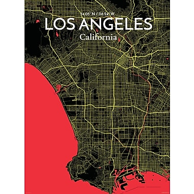 OurPoster.com 'Los Angeles City Map' Graphic Art Print Poster in Contrast; 24'' H x 18'' W