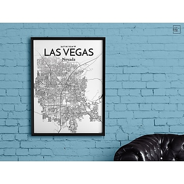 OurPoster.com 'Las Vegas City Map' Graphic Art Print Poster in Ink; 36'' H x 24'' W