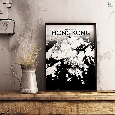 OurPoster.com 'Hong Kong City Map' Graphic Art Print Poster in Ink; 36'' H x 24'' W