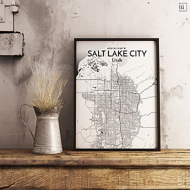 OurPoster.com 'Salt Lake City City Map' Graphic Art Print Poster in Ink; 27.56'' H x 19.69'' W