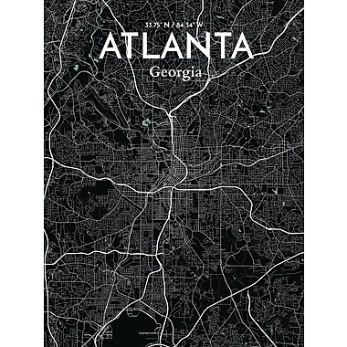 OurPoster.com 'Atlanta City Map' Graphic Art Print Poster in Midnight; 27.56'' H x 19.69'' W
