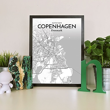 OurPoster.com 'Copenhagen City Map' Graphic Art Print Poster in Tones; 20'' H x 16'' W
