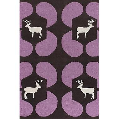 East Urban Home Valencia Purple Deer Novelty Rug; 2' x 3'