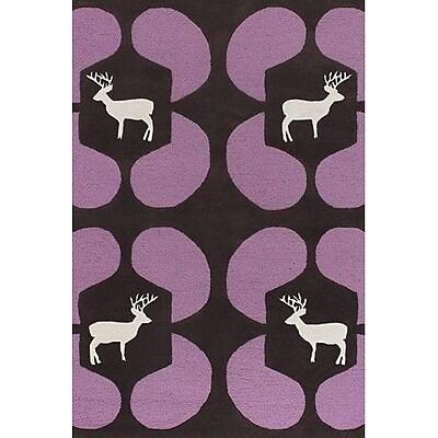 East Urban Home Valencia Purple Deer Novelty Rug; Round 7'9''