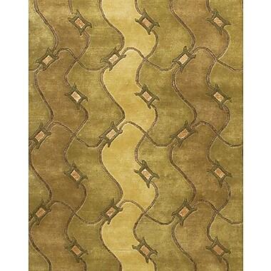 Fleur De Lis Living Caines Brown/Tan Geometric Area Rug; 5' x 7'6''