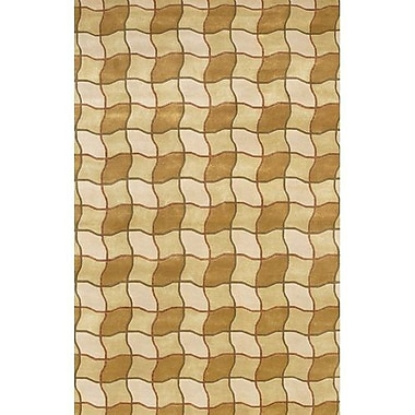 Fleur De Lis Living Caines Contemporary Brown/Tan Area Rug; 5' x 7'6''