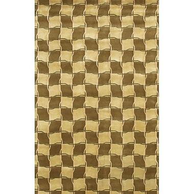 Fleur De Lis Living Caines Contemporary Wool Brown/Tan Area Rug; 2' x 3'