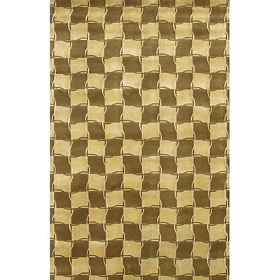 Fleur De Lis Living Caines Contemporary Wool Brown/Tan Area Rug; 5' x 7'6''
