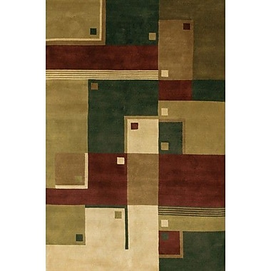 Fleur De Lis Living Caines Green/Brown Area Rug; 5' x 7'6''