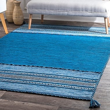 Foundry Select Alexandria Hand Loomed Cotton Blue Area Rug; Rectangle 5' x 8'