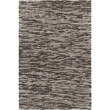 17 Stories Oana Textured Contemporary Wool Cream/Dark Gray Area Rug; 5' x 7'6''