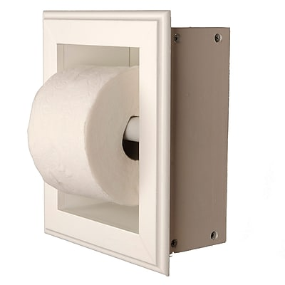 WG Wood Products Recessed Toilet Paper Holder; White Enamel