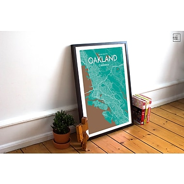 OurPoster.com 'Oakland City Map' Graphic Art Print Poster in Nature; 17'' H x 11'' W