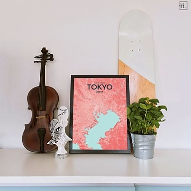 OurPoster.com 'Tokyo City Map' Graphic Art Print Poster in Maritime; 17'' H x 11'' W