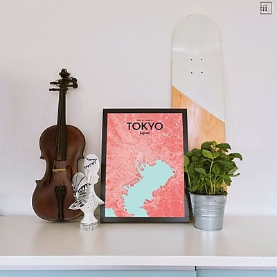 OurPoster.com 'Tokyo City Map' Graphic Art Print Poster in Maritime; 36'' H x 24'' W