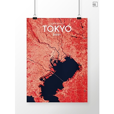 OurPoster.com 'Tokyo City Map' Graphic Art Print Poster in Nautical; 20'' H x 16'' W