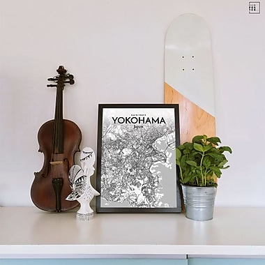 OurPoster.com 'Yokohama City Map' Graphic Art Print Poster in Tones; 17'' H x 11'' W