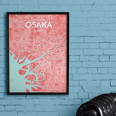 OurPoster.com 'Osaka City Map' Graphic Art Print Poster in Maritime; 17'' H x 11'' W