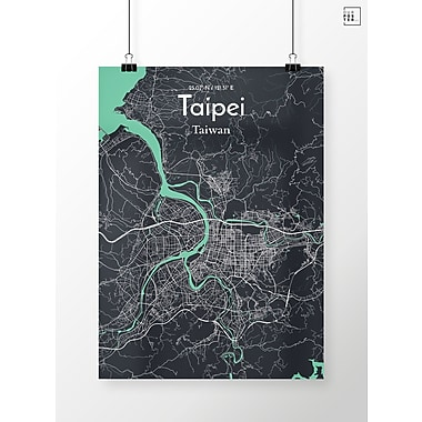 OurPoster.com 'Taipei City Map' Graphic Art Print Poster in Dream; 20'' H x 16'' W