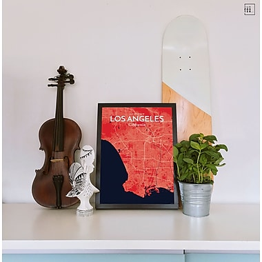 OurPoster.com 'Los Angeles City Map' Graphic Art Print Poster in Nautical; 17'' H x 11'' W