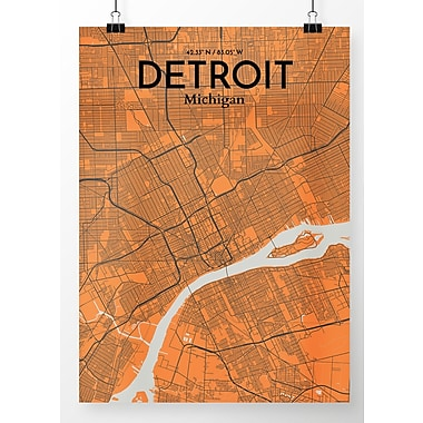 OurPoster.com 'Detroit City Map' Graphic Art Print Poster in Orange; 17'' H x 11'' W