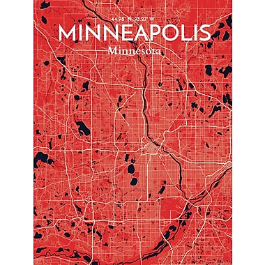 OurPoster.com 'Minneapolis City Map' Graphic Art Print Poster in Nautical; 36'' H x 24'' W