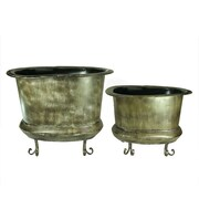 Entrada 2 Piece Metal Pot Planter Set