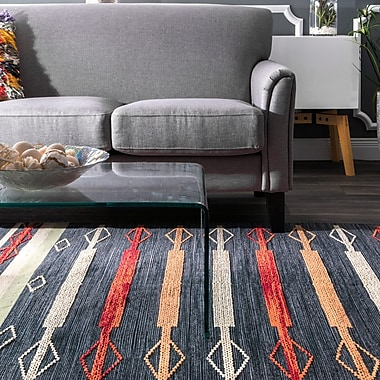 Union Rustic Whitford Hand Loomed Cotton Blue/Red/White Area Rug; Rectangle 7'6'' x 9'6''