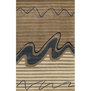 Fleur De Lis Living Caines Wool Brown/Tan Striped Area Rug; 2' x 3'