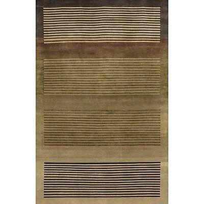 Fleur De Lis Living Caines Brown/Tan Striped Area Rug; 7'9'' x 10'6''