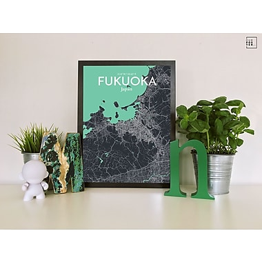 OurPoster.com 'Fukuoka City Map' Graphic Art Print Poster in Dream; 20'' H x 16'' W