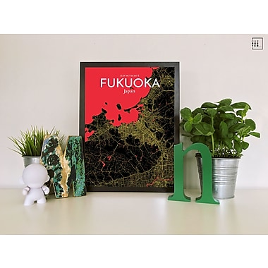 OurPoster.com 'Fukuoka City Map' Graphic Art Print Poster in Contrast; 36'' H x 24'' W