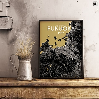 OurPoster.com 'Fukuoka City Map' Graphic Art Print Poster in Luxe; 20'' H x 16'' W