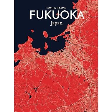 OurPoster.com 'Fukuoka City Map' Graphic Art Print Poster in Nautical; 24'' H x 18'' W