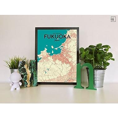 OurPoster.com 'Fukuoka City Map' Graphic Art Print Poster in Tricolor; 17'' H x 11'' W